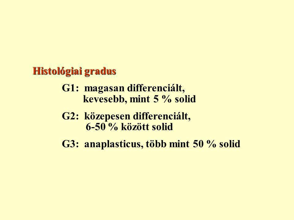 Histológiai gradus G1: magasan differenciált, kevesebb, mint 5 % solid G2: közepesen differenciált, 6-50 % között solid G3: anaplasticus, több mint 50 % solid