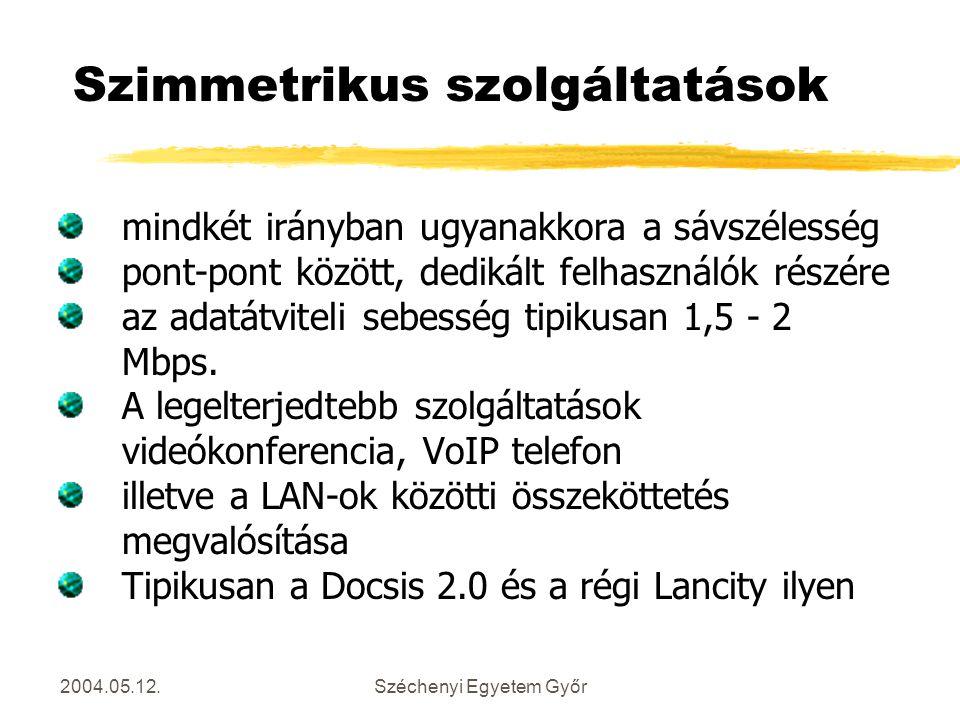 2004.05.12.Széchenyi Egyetem Győr Szimmetrikus szolgáltatások mindkét irányban ugyanakkora a sávszélesség pont-pont között, dedikált felhasználók rész