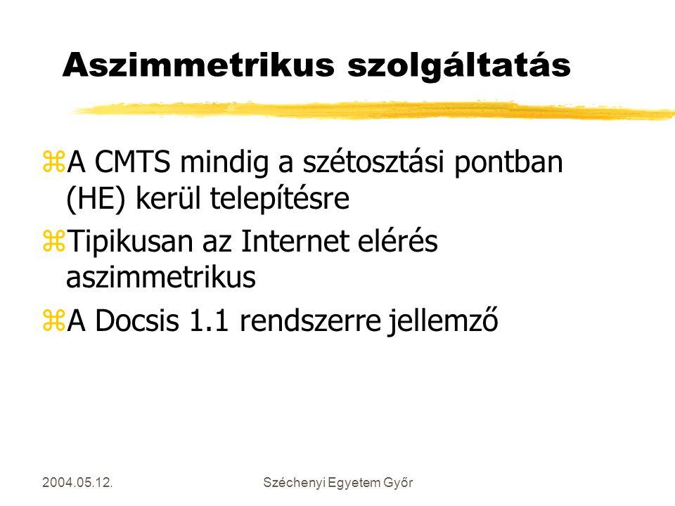2004.05.12.Széchenyi Egyetem Győr Aszimmetrikus szolgáltatás zA CMTS mindig a szétosztási pontban (HE) kerül telepítésre zTipikusan az Internet elérés