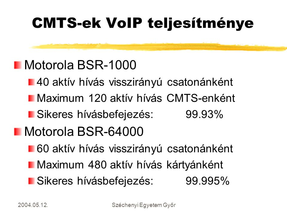 2004.05.12.Széchenyi Egyetem Győr CMTS-ek VoIP teljesítménye Motorola BSR-1000 40 aktív hívás visszirányú csatonánként Maximum 120 aktív hívás CMTS-en