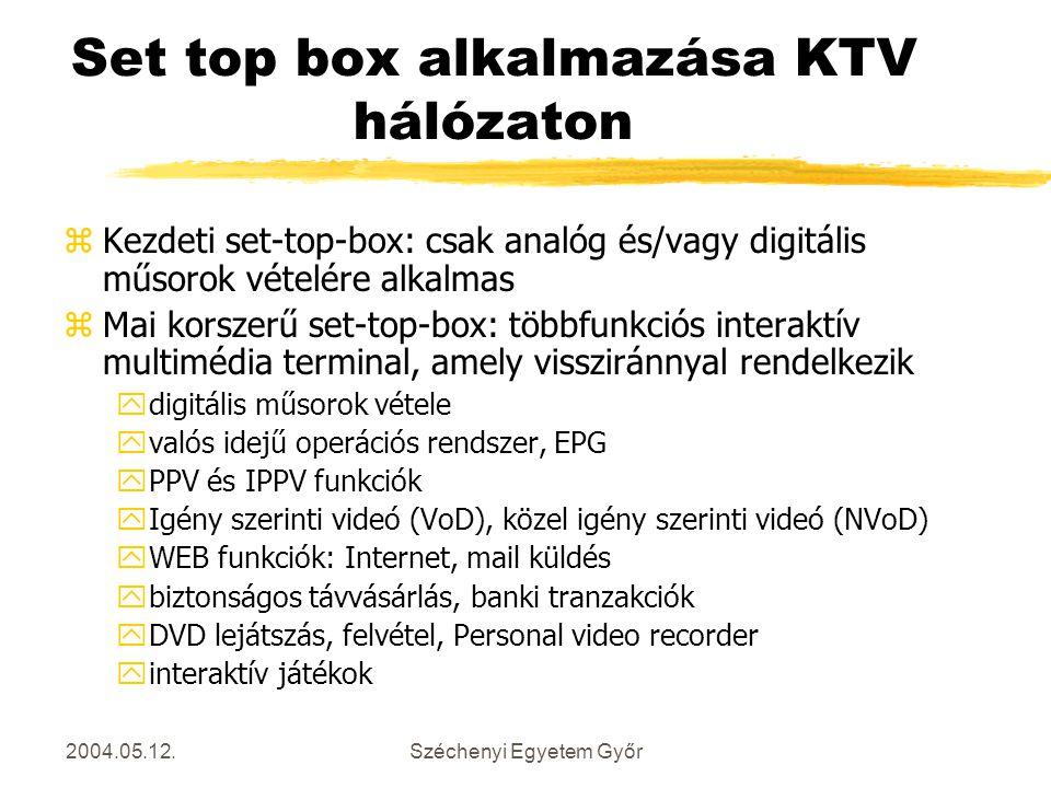 2004.05.12.Széchenyi Egyetem Győr Set top box alkalmazása KTV hálózaton zKezdeti set-top-box: csak analóg és/vagy digitális műsorok vételére alkalmas