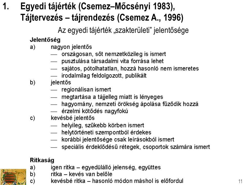 """Tájtervezési és Területfejlesztési Tanszék Dr. Csemez Attila 11 Az egyedi tájérték """"szakterületi"""" jelentősége 1.Egyedi tájérték (Csemez–Mőcsényi 1983)"""