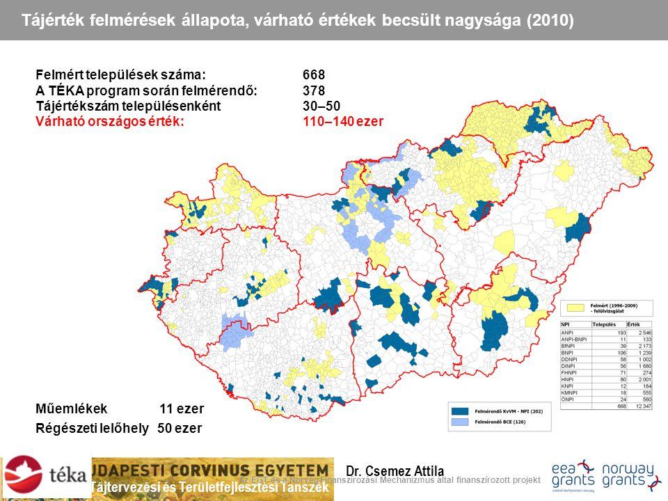 Tájtervezési és Területfejlesztési Tanszék Dr. Csemez Attila 21 Tájérték felmérések állapota, várható értékek becsült nagysága (2010) Az EGT és a Norv