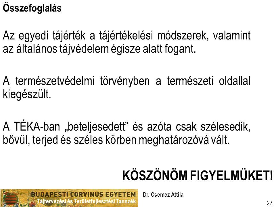 Tájtervezési és Területfejlesztési Tanszék Dr. Csemez Attila 22 Összefoglalás Az egyedi tájérték a tájértékelési módszerek, valamint az általános tájv