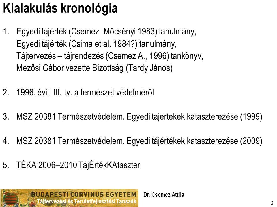 Tájtervezési és Területfejlesztési Tanszék Dr. Csemez Attila 3 Kialakulás kronológia 1.Egyedi tájérték (Csemez–Mőcsényi 1983) tanulmány, Egyedi tájért