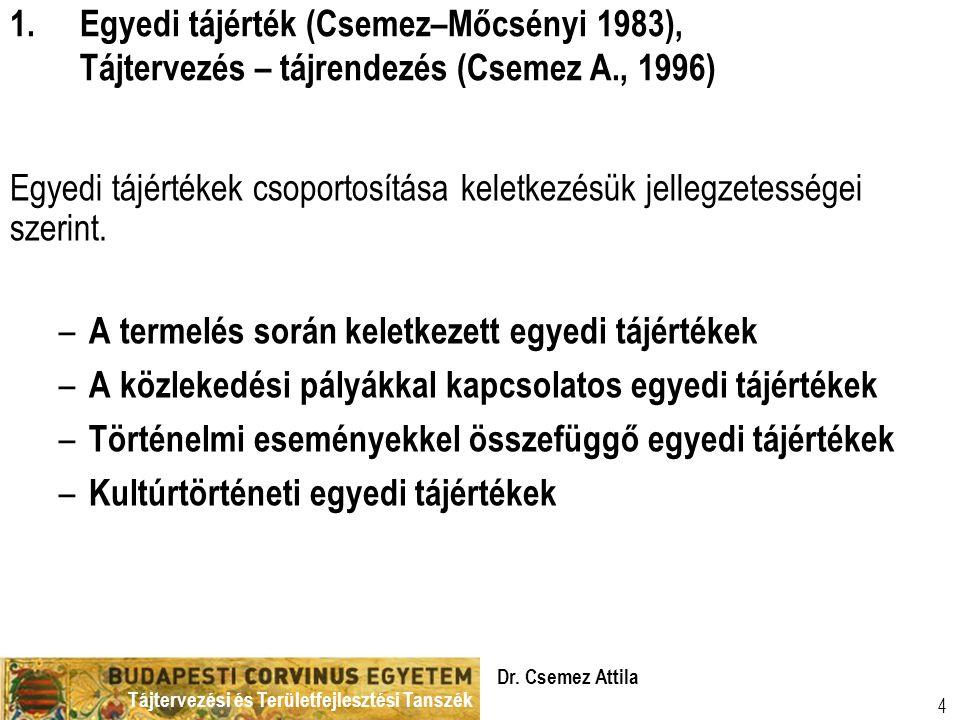 Tájtervezési és Területfejlesztési Tanszék Dr. Csemez Attila 4 Egyedi tájértékek csoportosítása keletkezésük jellegzetességei szerint. – A termelés so