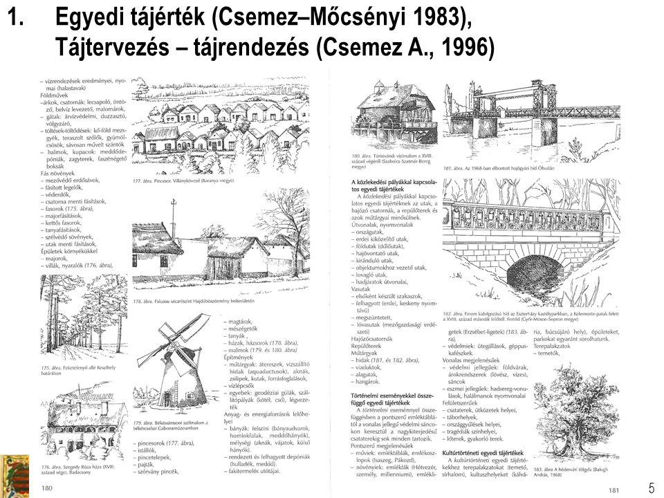 Tájtervezési és Területfejlesztési Tanszék Dr. Csemez Attila 5 1.Egyedi tájérték (Csemez–Mőcsényi 1983), Tájtervezés – tájrendezés (Csemez A., 1996)