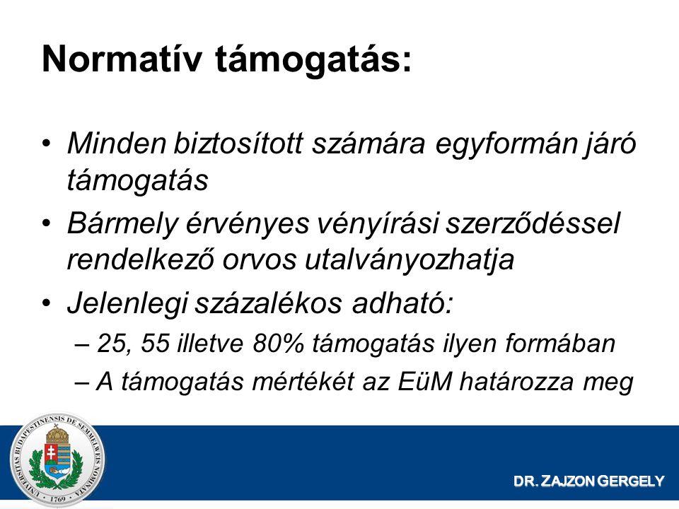 DR. Z AJZON G ERGELY Normatív támogatás: •Minden biztosított számára egyformán járó támogatás •Bármely érvényes vényírási szerződéssel rendelkező orvo
