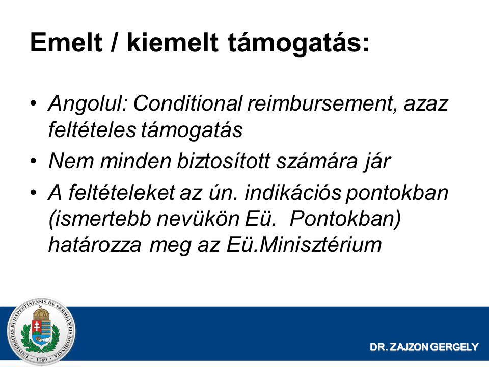 DR. Z AJZON G ERGELY Emelt / kiemelt támogatás: •Angolul: Conditional reimbursement, azaz feltételes támogatás •Nem minden biztosított számára jár •A