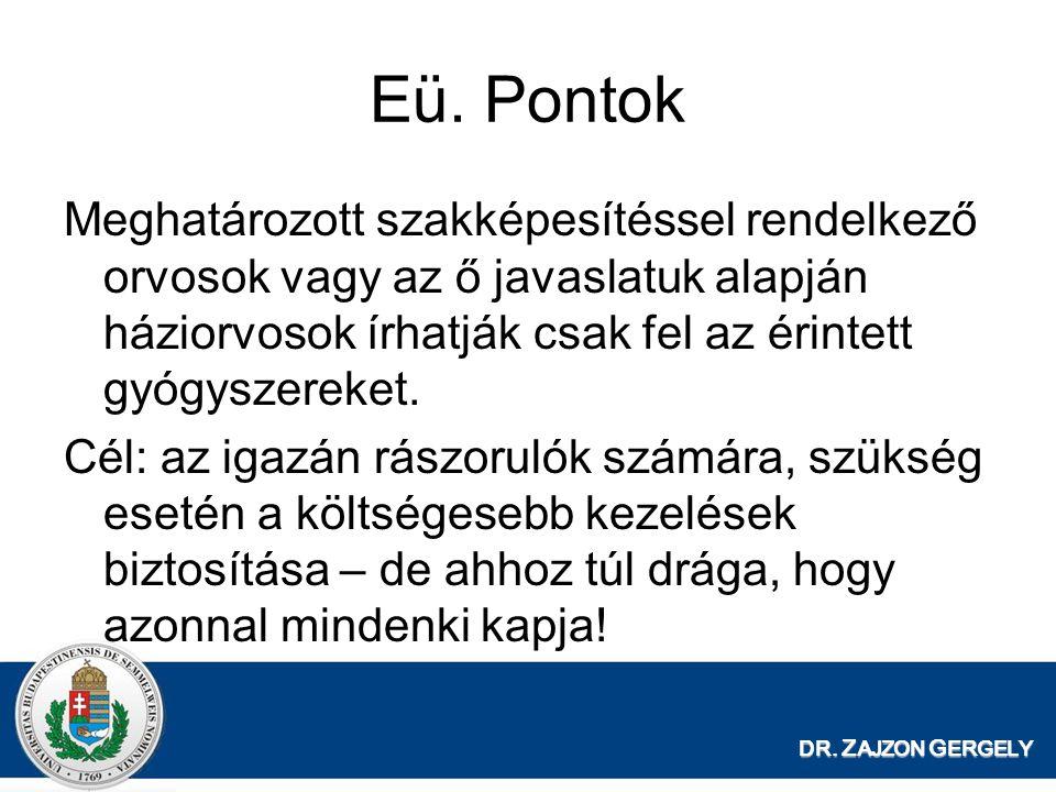 DR. Z AJZON G ERGELY Eü. Pontok Meghatározott szakképesítéssel rendelkező orvosok vagy az ő javaslatuk alapján háziorvosok írhatják csak fel az érinte
