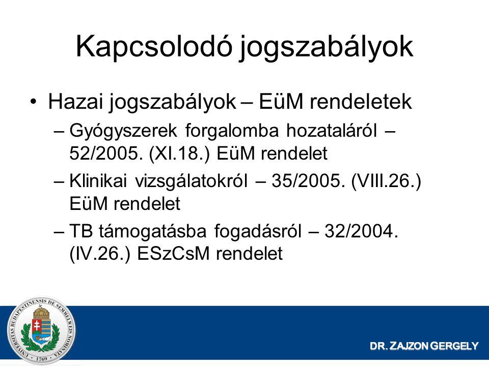 DR. Z AJZON G ERGELY Kapcsolodó jogszabályok •Hazai jogszabályok – EüM rendeletek –Gyógyszerek forgalomba hozataláról – 52/2005. (XI.18.) EüM rendelet