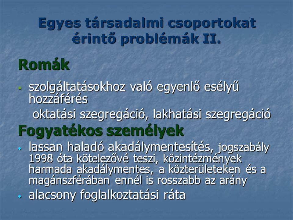 Egyes társadalmi csoportokat érintő problémák II.