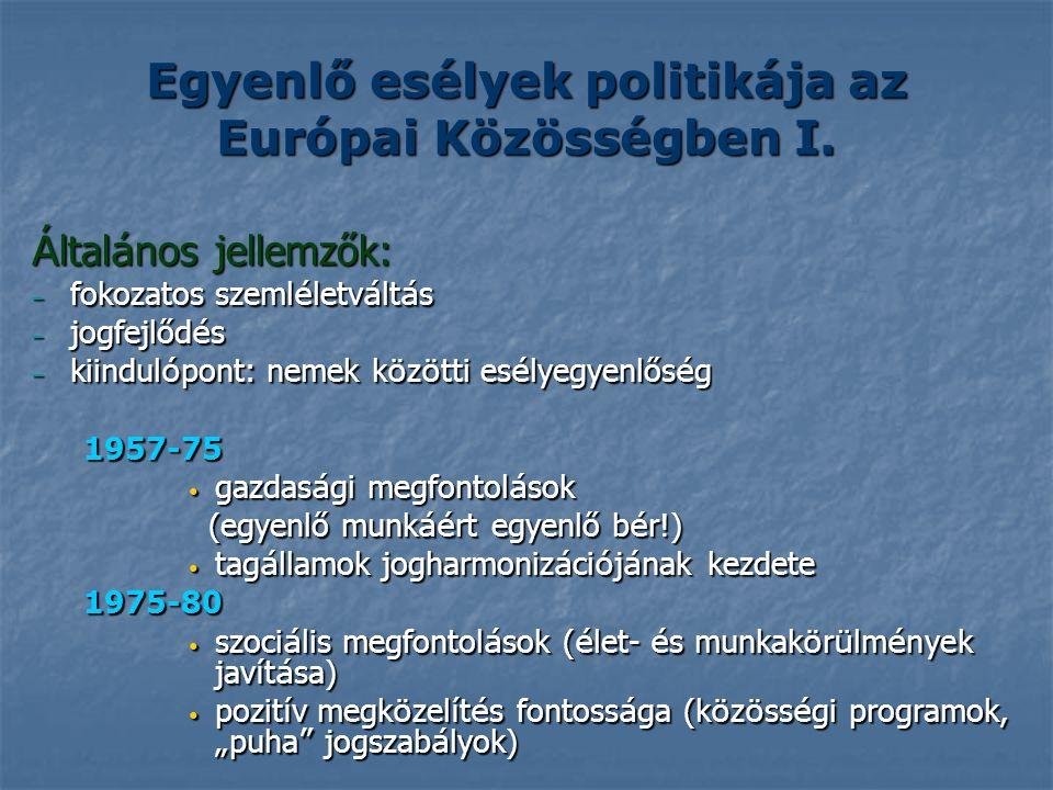 Egyenlő esélyek politikája az Európai Közösségben I.