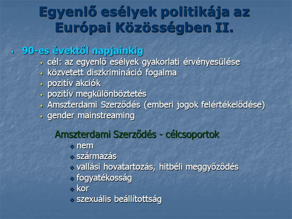 Egyenlő esélyek politikája az Európai Közösségben II.