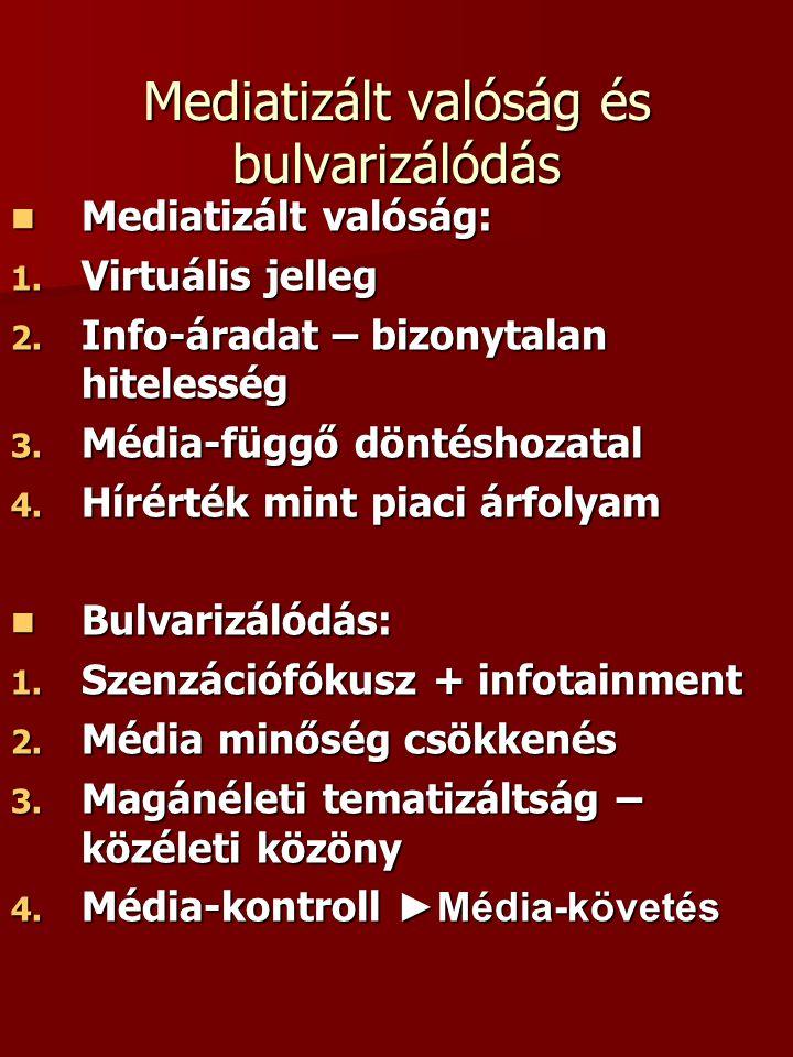 Mediatizált valóság és bulvarizálódás  Mediatizált valóság: 1. Virtuális jelleg 2. Info-áradat – bizonytalan hitelesség 3. Média-függő döntéshozatal