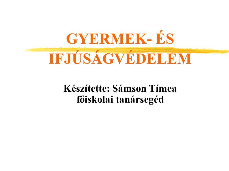 GYERMEK- ÉS IFJÚSÁGVÉDELEM Készítette: Sámson Tímea főiskolai tanársegéd