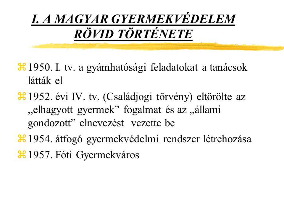 I.A MAGYAR GYERMEKVÉDELEM RÖVID TÖRTÉNETE z1950. I.