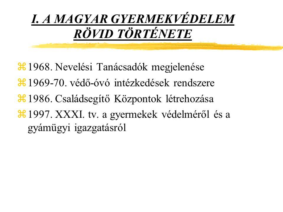 I.A MAGYAR GYERMEKVÉDELEM RÖVID TÖRTÉNETE z1968. Nevelési Tanácsadók megjelenése z1969-70.