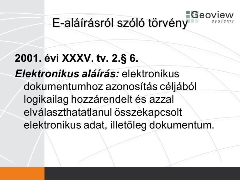 E-aláírásról szóló törvény 2001. évi XXXV. tv. 2.§ 6. Elektronikus aláírás: elektronikus dokumentumhoz azonosítás céljából logikailag hozzárendelt és