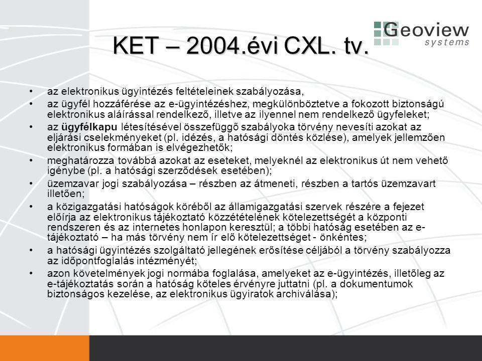 KET – 2004.évi CXL. tv. •az elektronikus ügyintézés feltételeinek szabályozása, •az ügyfél hozzáférése az e-ügyintézéshez, megkülönböztetve a fokozott