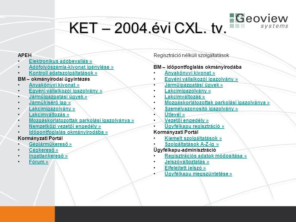 KET – 2004.évi CXL. tv. APEH •Elektronikus adóbevallás »Elektronikus adóbevallás » •Adófolyószámla-kivonat igénylése »Adófolyószámla-kivonat igénylése