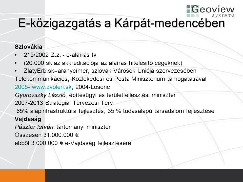 E-közigazgatás a Kárpát-medencében Szlovákia •215/2002 Z.z. - e-aláírás tv •(20.000 sk az akkreditációja az aláírás hitelesítő cégeknek) •ZlatyErb.sk=