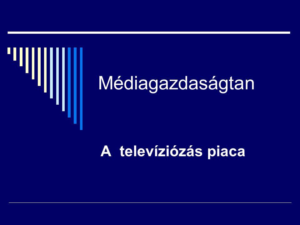 A televiziózás piaca Alapfogalmak:  televízió-műsorszám  televízió-műsor  televíziózás Műsor tekintjük elemzésünkben a médiaterméknek Televíziózás,mint műsorszolgáltatás az adott területen élők műsorokkal,műsorcsomagokkal,egyedileg választható műsorszámokkal való ellátása a televíziózás,mint technológia révén.