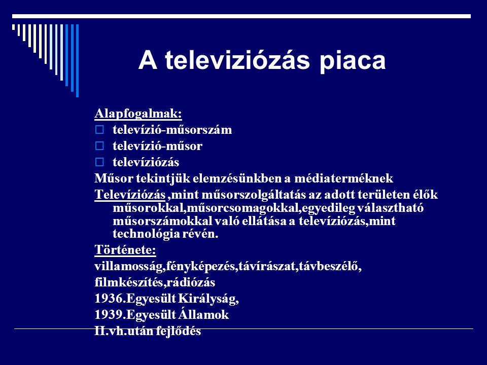 A televiziózás piaca Alapfogalmak:  televízió-műsorszám  televízió-műsor  televíziózás Műsor tekintjük elemzésünkben a médiaterméknek Televíziózás,