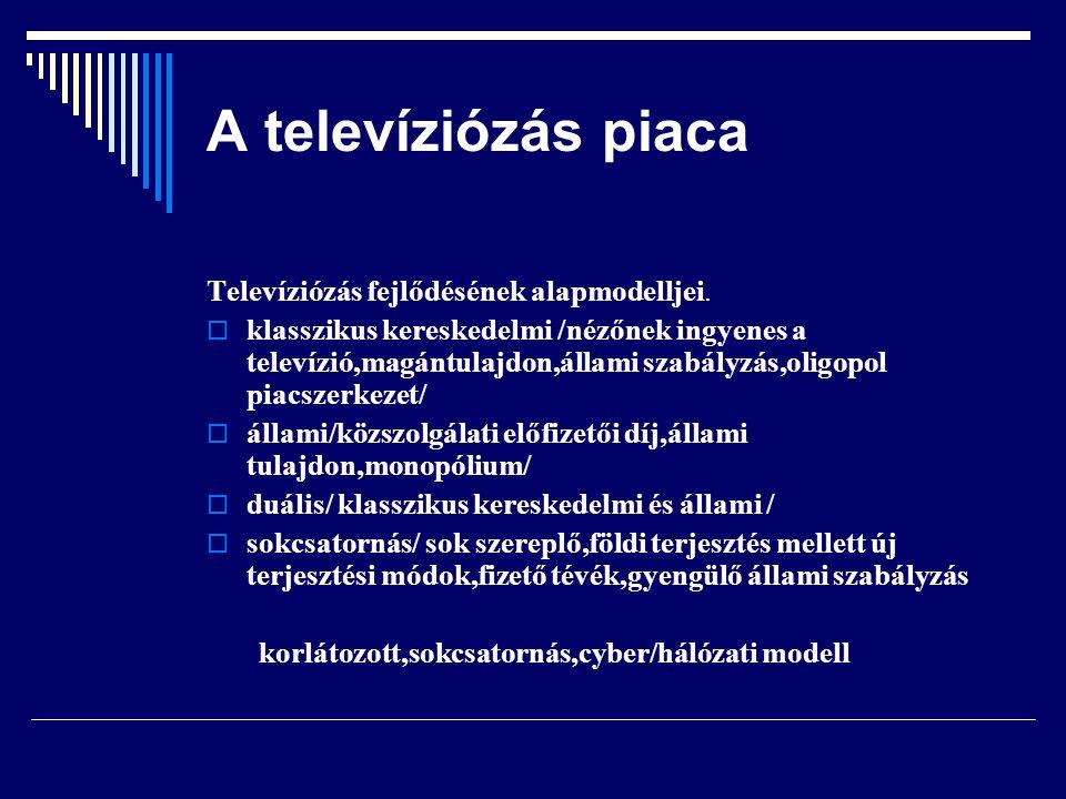 A televíziózás piaca Televizió csoportosítása  tartalom  terület  terjesztés  finanszírozás finanszírozás:fizető televízió megjelenése a nagyközönség piacán platform:a néző egyes platformokon keresztül jut el a műsorszolgáltatáshoz