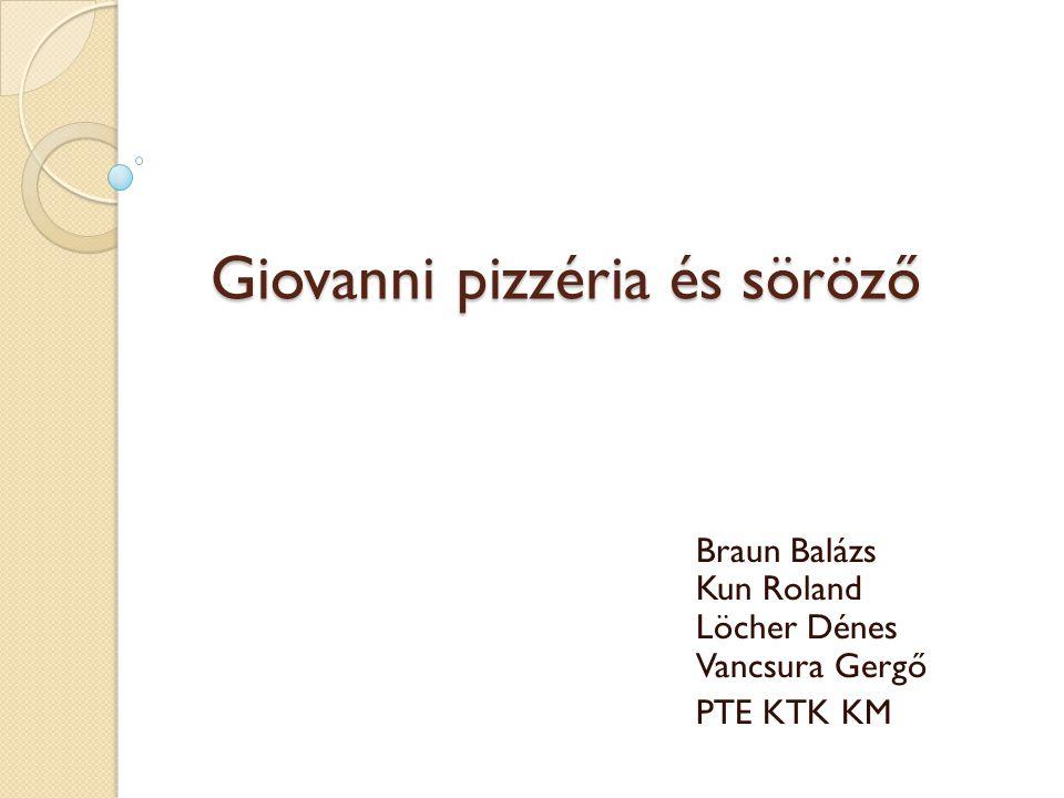 Giovanni pizzéria és söröző Braun Balázs Kun Roland Löcher Dénes Vancsura Gergő PTE KTK KM