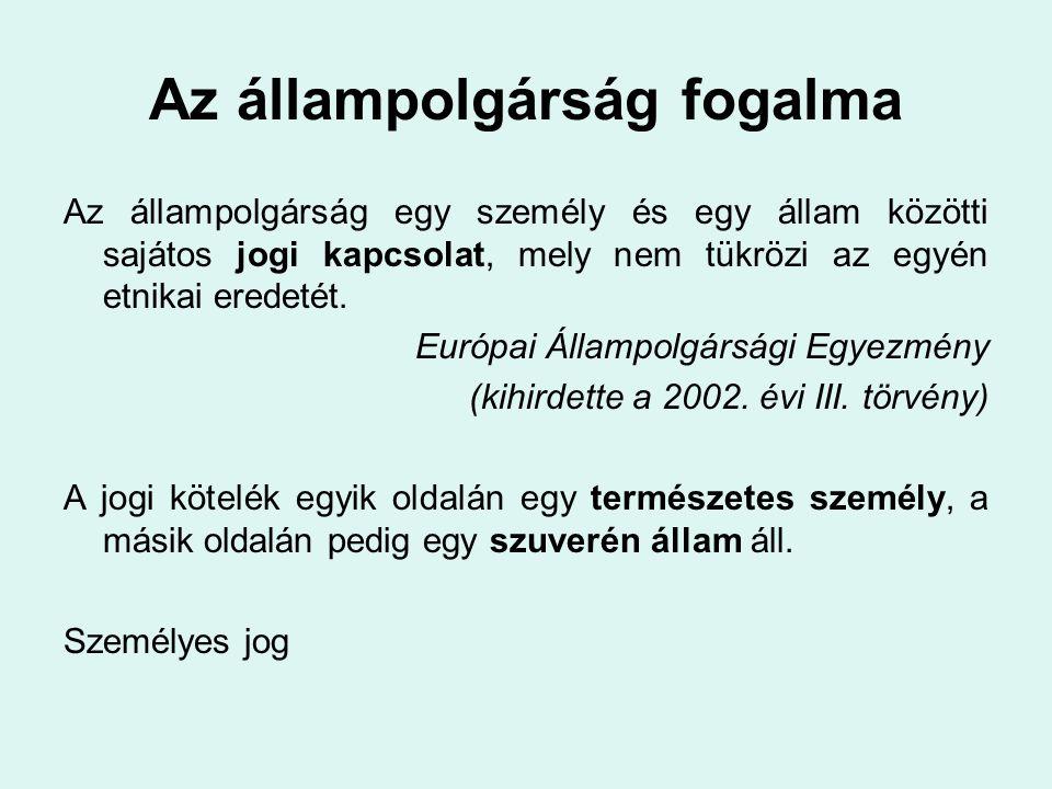 A magyar állampolgársághoz kötött legfontosabb jogok •A hazatérés joga és a kiutasítás tilalma.
