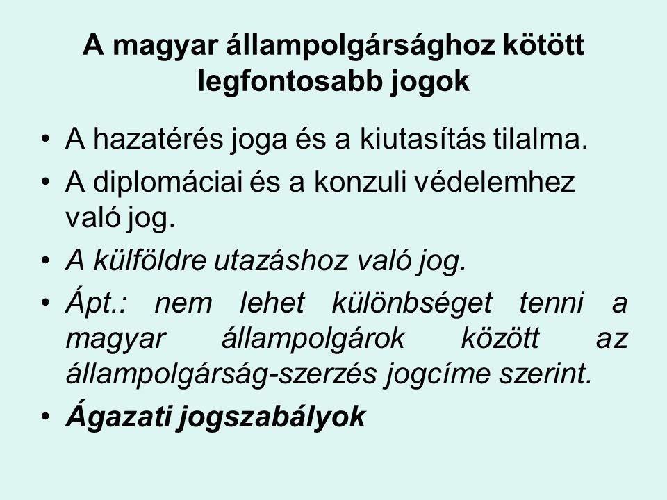 A magyar állampolgárság szabályozása •1879.évi L.
