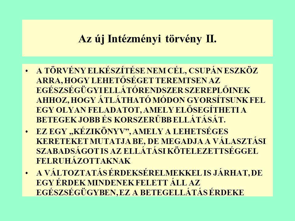 Az új Intézményi törvény I. •KORÁBBAN BÁRKI, BÁRMILYEN FORMÁBAN, BÁRMILYEN EGÉSZSÉGÜGYI TEVÉKENYSÉGET VÉGEZHETETT, HA MŰKÖDÉSI ENGEDÉLYE VOLT (113/198