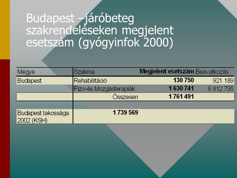 Fővárosi szakrendelések járóbeteg gyógytornászi- és fizikoterápiás tevékenysége 2001-2002