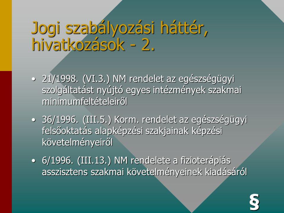 Jogi szabályozási háttér, hivatkozások - 1. •1997. évi CLIV. Tv. Az egészségügyről •1991. Évi XI. Tv. Az Állami Népegészségügyi és Tisztiorvosi Szolgá