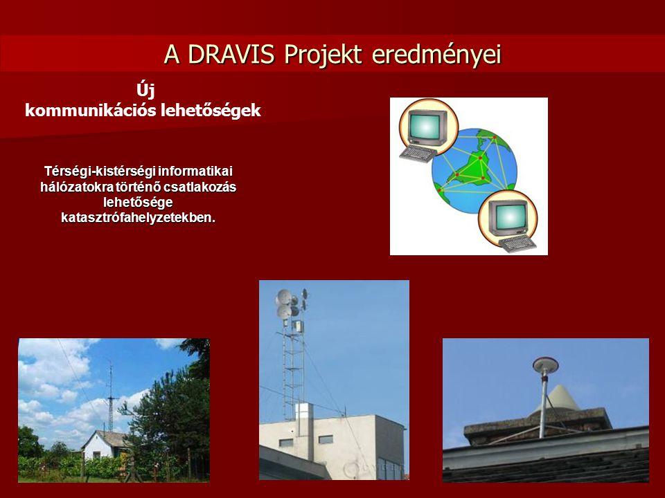 A DRAVIS Projekt eredményei Új kommunikációs lehetőségek Térségi-kistérségi informatikai hálózatokra történő csatlakozás lehetősége katasztrófahelyzet