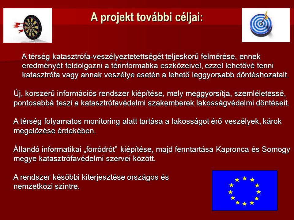 A projekt további céljai: A térség katasztrófa-veszélyeztetettségét teljeskörű felmérése, ennek A térség katasztrófa-veszélyeztetettségét teljeskörű f
