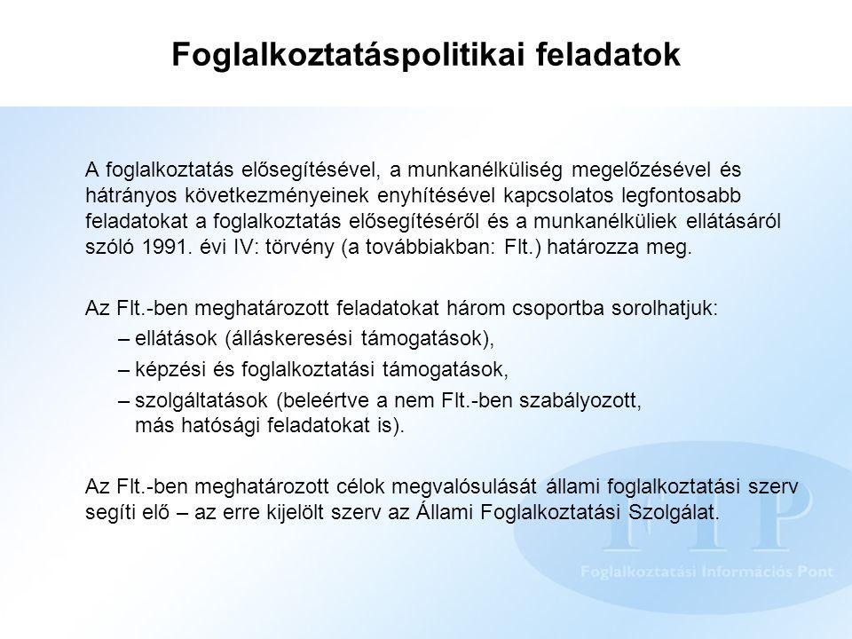 Foglalkoztatáspolitikai feladatok A foglalkoztatás elősegítésével, a munkanélküliség megelőzésével és hátrányos következményeinek enyhítésével kapcsol