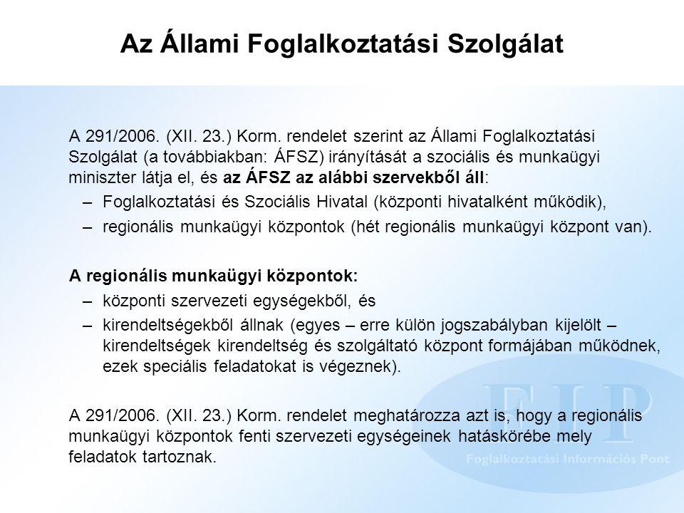 Az Állami Foglalkoztatási Szolgálat A 291/2006. (XII. 23.) Korm. rendelet szerint az Állami Foglalkoztatási Szolgálat (a továbbiakban: ÁFSZ) irányítás