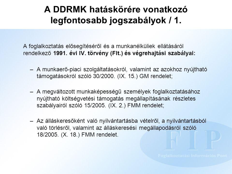 A DDRMK hatáskörére vonatkozó legfontosabb jogszabályok / 1.