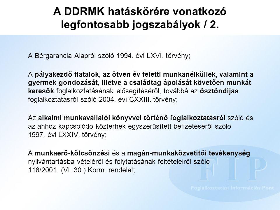 A DDRMK hatáskörére vonatkozó legfontosabb jogszabályok / 2. A Bérgarancia Alapról szóló 1994. évi LXVI. törvény; A pályakezdő fiatalok, az ötven év f