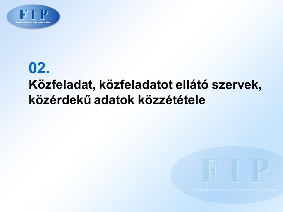 02. Közfeladat, közfeladatot ellátó szervek, közérdekű adatok közzététele
