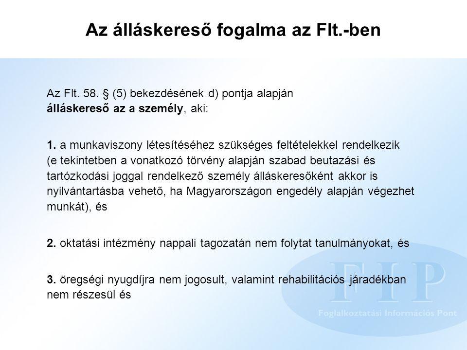 Az álláskereső fogalma az Flt.-ben Az Flt. 58. § (5) bekezdésének d) pontja alapján álláskereső az a személy, aki: 1. a munkaviszony létesítéséhez szü