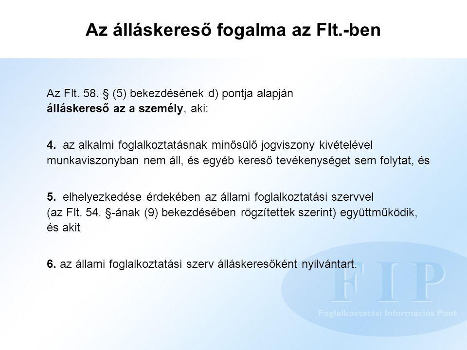 Az álláskereső fogalma az Flt.-ben Az Flt. 58. § (5) bekezdésének d) pontja alapján álláskereső az a személy, aki: 4. az alkalmi foglalkoztatásnak min