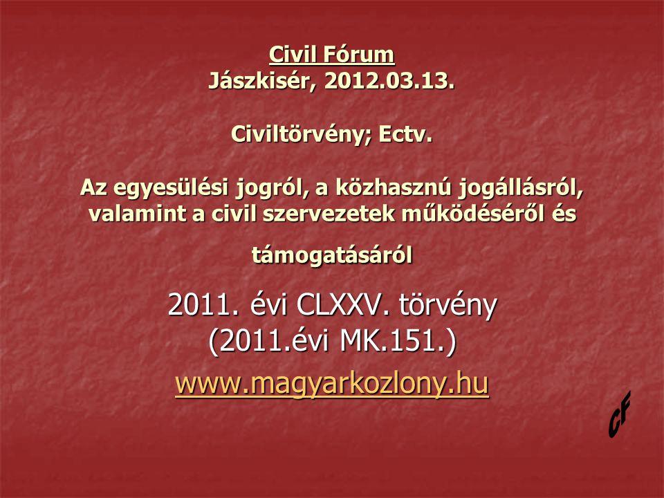 Civil Fórum Jászkisér, 2012.03.13. Civiltörvény; Ectv.