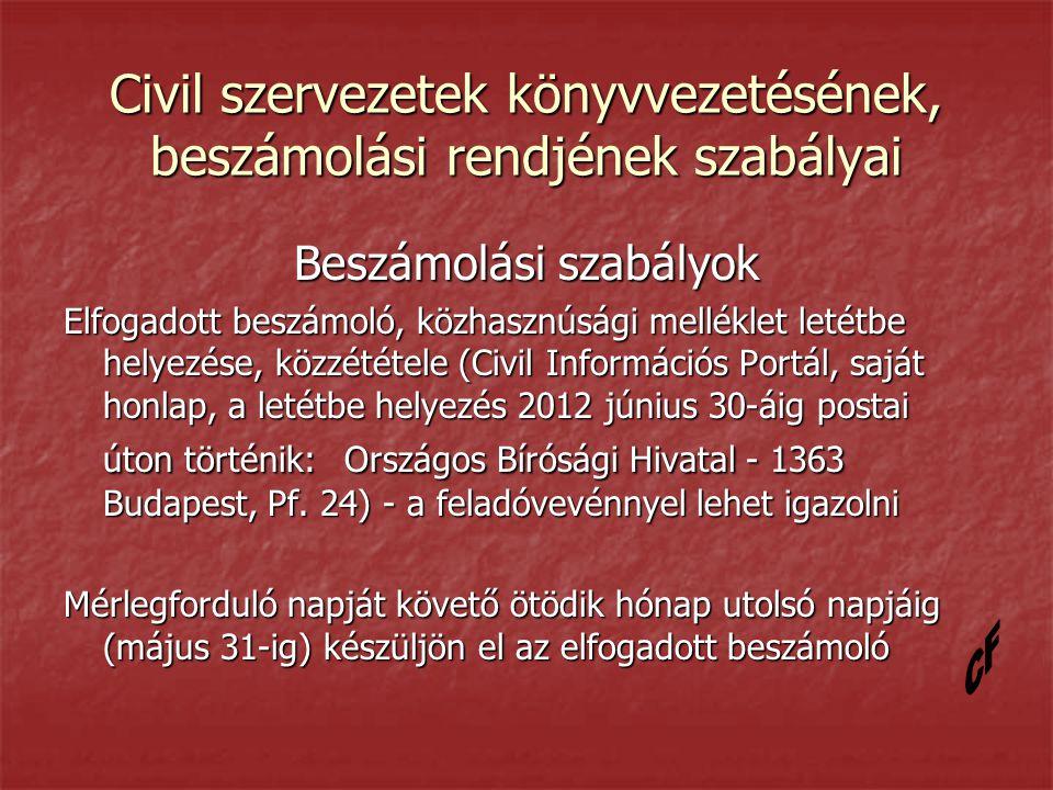 Civil szervezetek könyvvezetésének, beszámolási rendjének szabályai Beszámolási szabályok Elfogadott beszámoló, közhasznúsági melléklet letétbe helyezése, közzététele (Civil Információs Portál, saját honlap, a letétbe helyezés 2012 június 30-áig postai úton történik: Országos Bírósági Hivatal - 1363 Budapest, Pf.