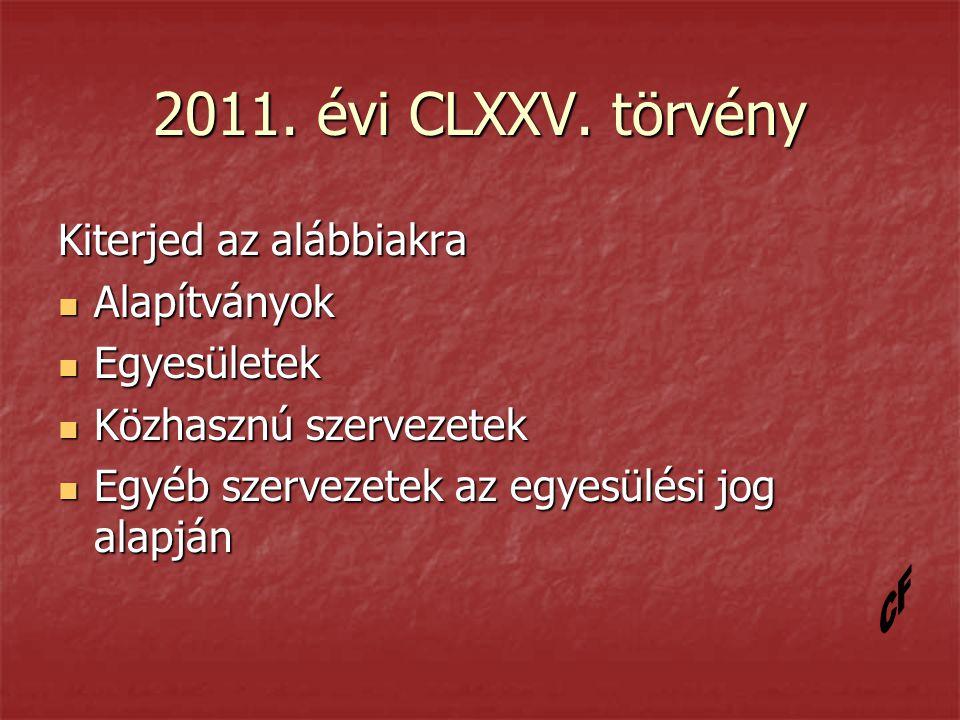 Várható további szabályozások  1.A civil szervezetek nyilvántartásáról, és ezzel összefüggő egyes eljárási szabályokról szóló 2011.