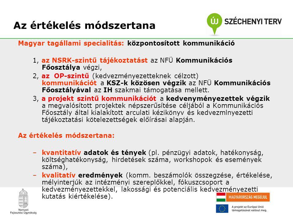 Magyar tagállami specialitás: központosított kommunikáció 1, az NSRK-szintű tájékoztatást az NFÜ Kommunikációs Főosztálya végzi, 2, az OP-szintű (kedv