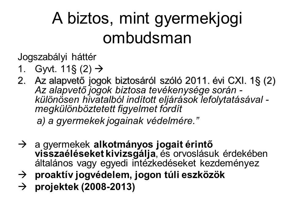 A biztos, mint gyermekjogi ombudsman Jogszabályi háttér 1.Gyvt.
