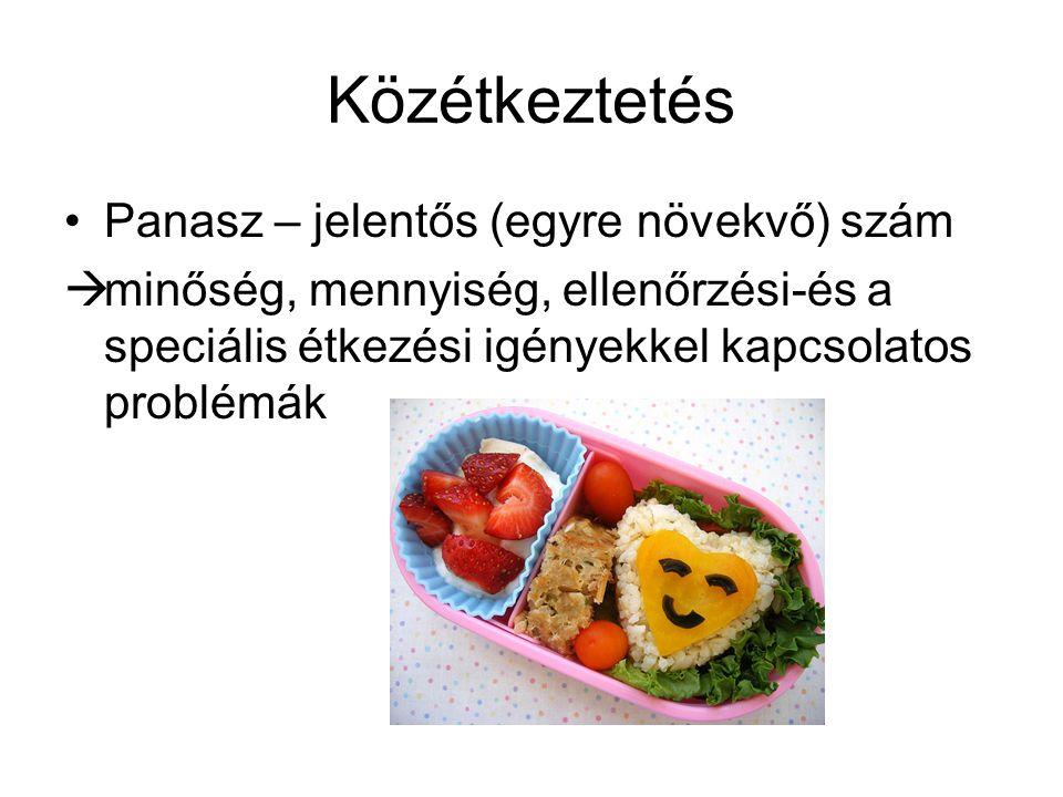 Közétkeztetés •Panasz – jelentős (egyre növekvő) szám  minőség, mennyiség, ellenőrzési-és a speciális étkezési igényekkel kapcsolatos problémák